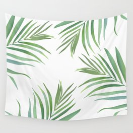 Green Leaf Watercolor Design Wall Tapestry
