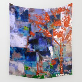 The Autumn Tree: Abstract Acrylic Painting of the Fall season Wall Tapestry