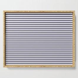 minimal, stripes, horizontal blue and white Serving Tray