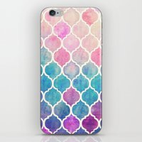 green iPhone & iPod Skins featuring Rainbow Pastel Watercolor Moroccan Pattern by micklyn