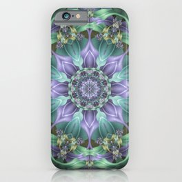 Ribbon Mandala in Blue and Purple iPhone Case