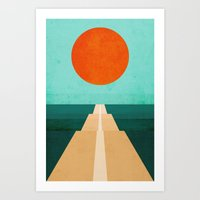 road Art Prints featuring The Road Less Traveled by Picomodi