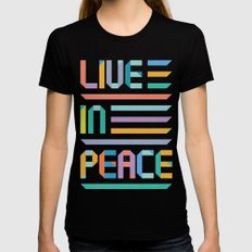 Live In Peace LARGE Black Womens Fitted Tee