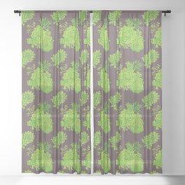Succulent Pattern Sheer Curtain
