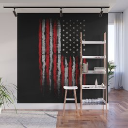 Red & white Grunge American flag Wall Mural