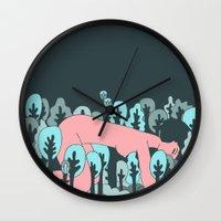 forrest Wall Clocks featuring forrest by Regina Rivas Bigordá