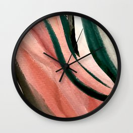 Spring in the City - a pretty mimimal watercolor abstract piece in pinks and greens Wall Clock