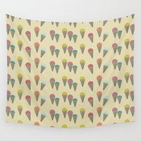 ice cream Wall Tapestries featuring Ice Cream by victoria negrin