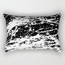 Black and White Paint Splatter Rectangular Pillow
