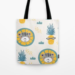 Lion and piniapple Tote Bag