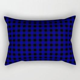 Navy Blue Buffalo Check Tartan Plaid - Blue and Black Rectangular Pillow