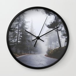 Dream forests. Into the foggy woods Wall Clock