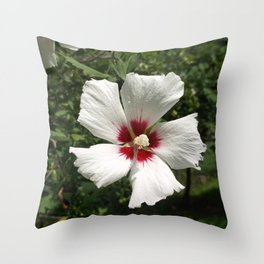 Hibiscus, White Throw Pillow