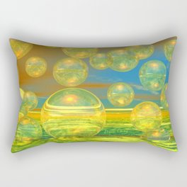 Golden Days, Abstract Yellow and Azure Tranquility Rectangular Pillow
