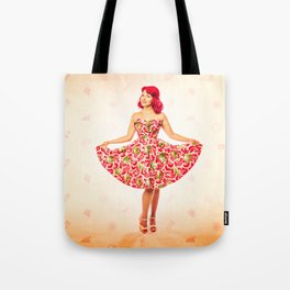 """Check Out These Melons"" - The Playful Pinup - Girl in Watermelon Dress by Maxwell H. Johnson Tote Bag"
