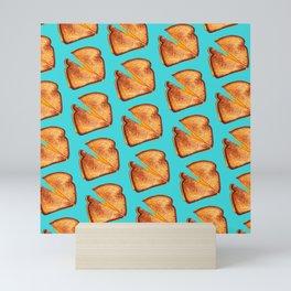 Grilled Cheese Sandwich Pattern - Blue Mini Art Print