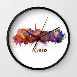 Kyoto skyline in watercolor Wall Clock