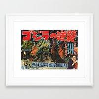 godzilla Framed Art Prints featuring Godzilla by Golden Boy