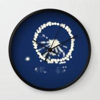 ferris wheel Wall Clocks featuring Ferris Wheel  by Lauren Lee Design's