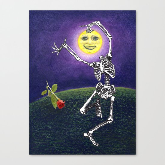 Skeleton Moon Canvas Print