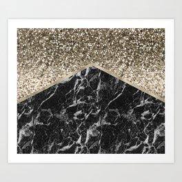 Shimmering golden chevron black marble Art Print