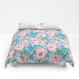 WAHINE WAYS Aqua Tropical Floral Comforters