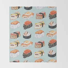 Sushi Persian Cat Watercolor Throw Blanket