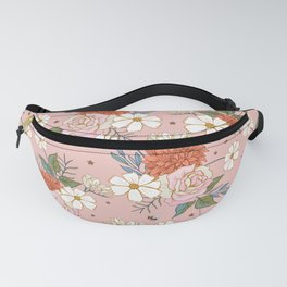 Retro Rose Garden on Coral Pink Fanny Pack