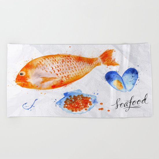Fish Menu Beach Towel