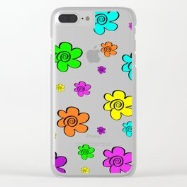 Colorful daisy flowers Clear iPhone Case
