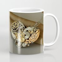 jewish Mugs featuring Steampunk Heart of Gold and Silver by Brown Eyed Lady