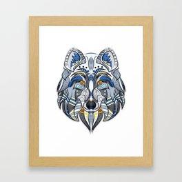 Wolf illustration blue/yellow Framed Art Print