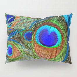 BLUE-GREEN PEACOCK FEATHERS ART Pillow Sham