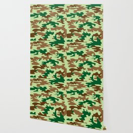 Camouflage Print Pattern - Greens & Browns Wallpaper