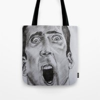 nicolas cage Tote Bags featuring NICOLAS CAGE in CHARCOAL face/off face off film movie cult by Radiopeach