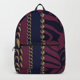 Wrapped in Luxury Zebra Print & Gold Chains Backpack
