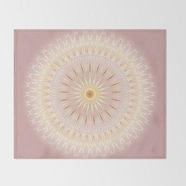 Gold Rose Mandala Throw Blanket