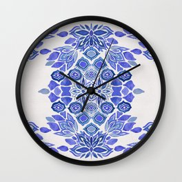 Delft blue Bohemian floral watercolor pattern in classic blue and cream Wall Clock