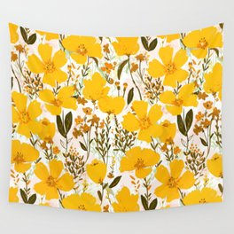 Yellow roaming wildflowers Wall Tapestry