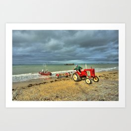 Red Tractor at Arrowmanches Art Print