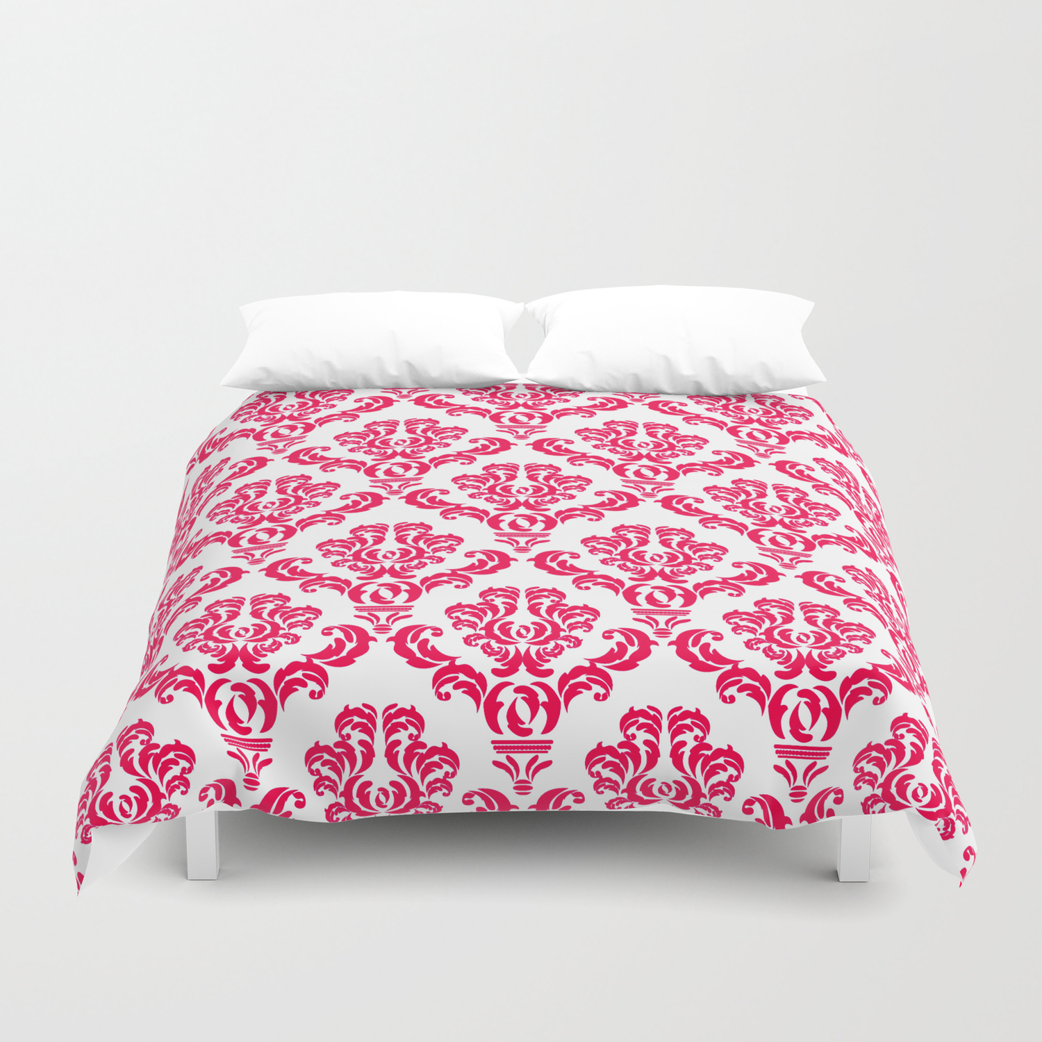 Damask Pink Red Duvet Cover By
