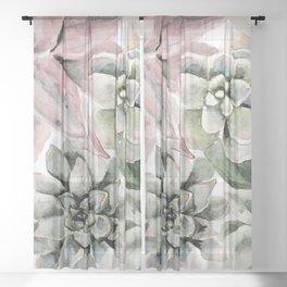 Circular Succulent Watercolor Sheer Curtain