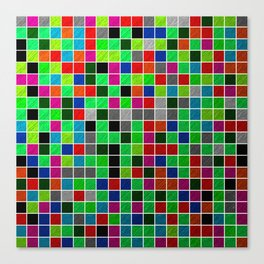 Metallic Colour Grid Canvas Print