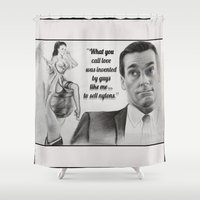 men Shower Curtains featuring Mad Men by Magdalena Almero