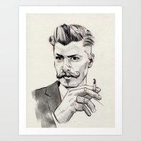 moustache Art Prints featuring Moustache by hectordanielvargas