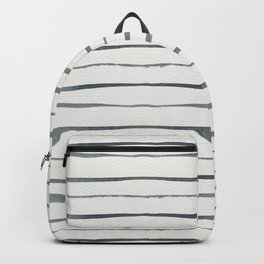 Hand painted white gray watercolor striped pattern Backpack