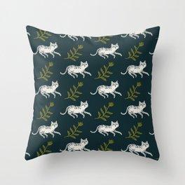 Snow Leopard & Fern Throw Pillow