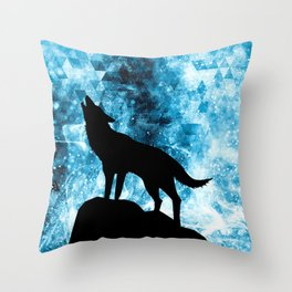 Howling Winter Wolf snowy blue smoke Throw Pillow