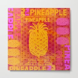 Pineapple pink orange colorful artwork Metal Print