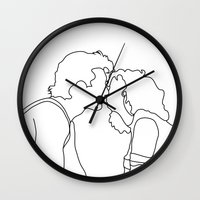 dirty dancing Wall Clocks featuring Dirty Dancing // Johnny and Baby by Bethany Mallick